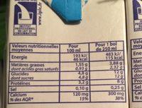 Uht Demi Ecreme Gourmand - Informations nutritionnelles