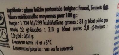 Creme fraiche que je préfére - Ingrédients - fr