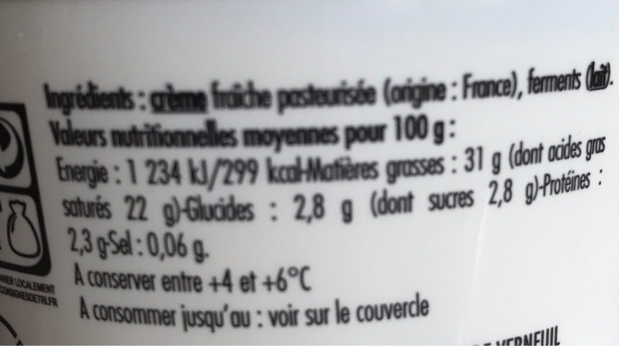 Creme fraiche que je préfére - Informations nutritionnelles - fr