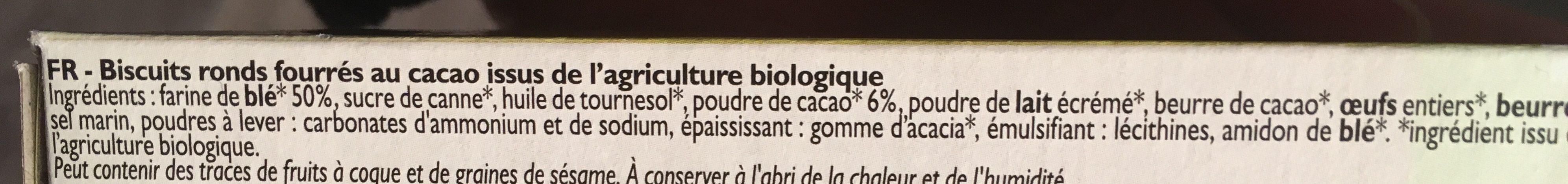 Fourrés cacao - Ingrediënten - fr