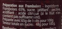Préparation Framboise 65% 330g - Ingrediënten - fr