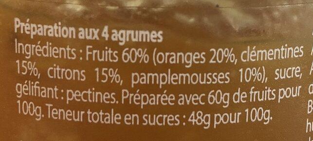 4 agrumes - Ingrediënten