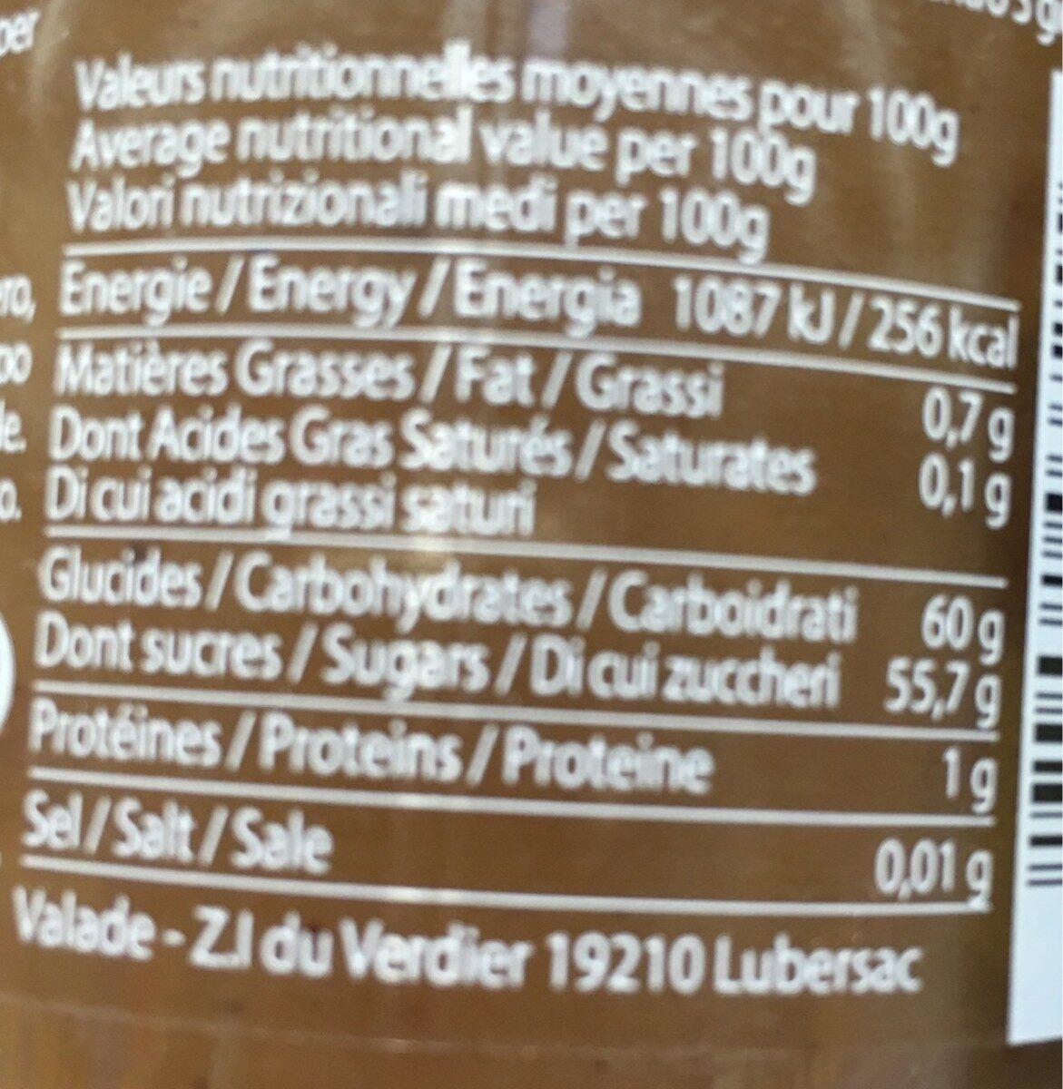 Crême de marrons au caramel - Voedingswaarden - fr