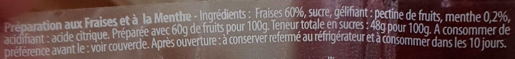 Confiture Fraise Menthe - Ingrediënten - fr