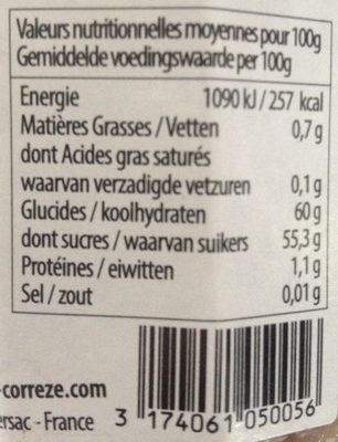Confiture de chataigne a la vanille bio - Informations nutritionnelles - fr