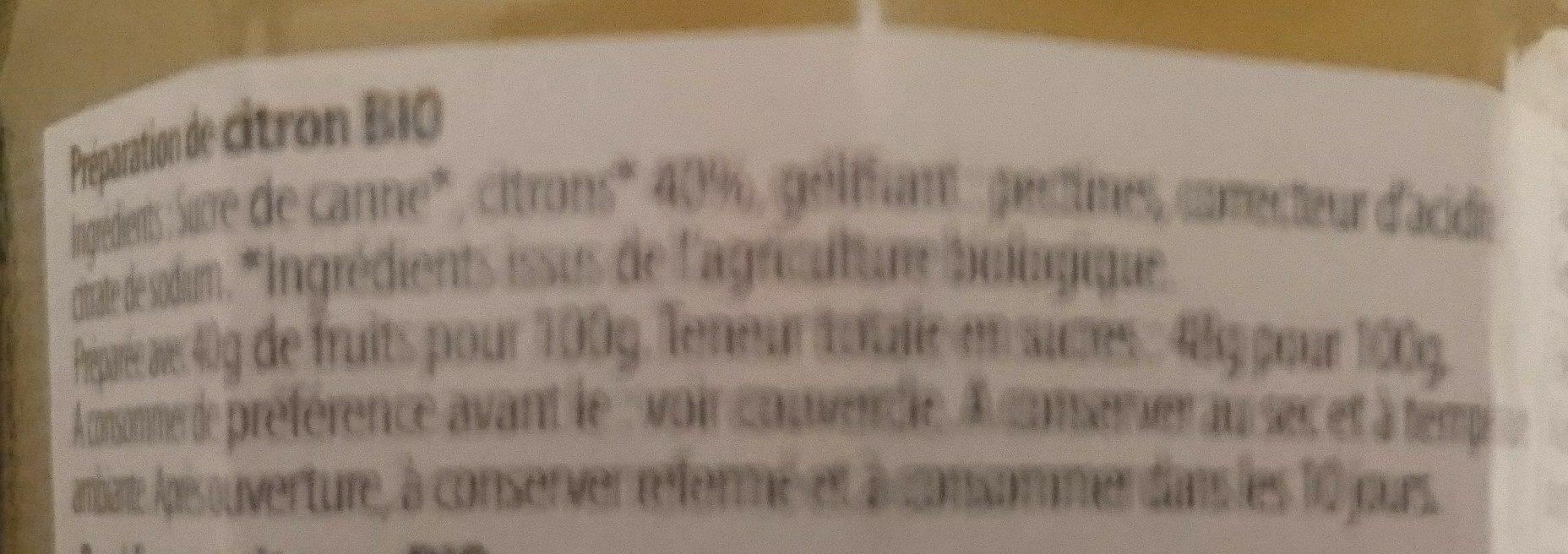 We Bio ! Citron - Ingrédients - fr