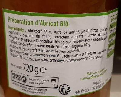 Confiture abricot - Ingredients