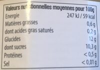 Compote Pomme sans sucre ajouté - Informations nutritionnelles - fr