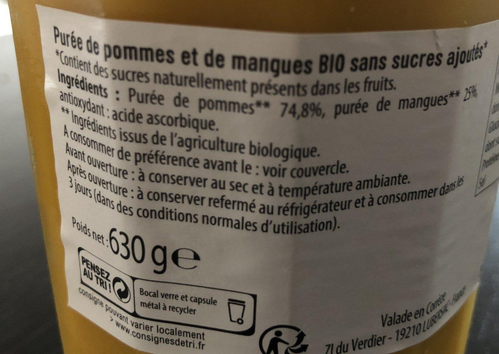 Compote Pomme Mangue SSA BIO - Ingrédients - fr