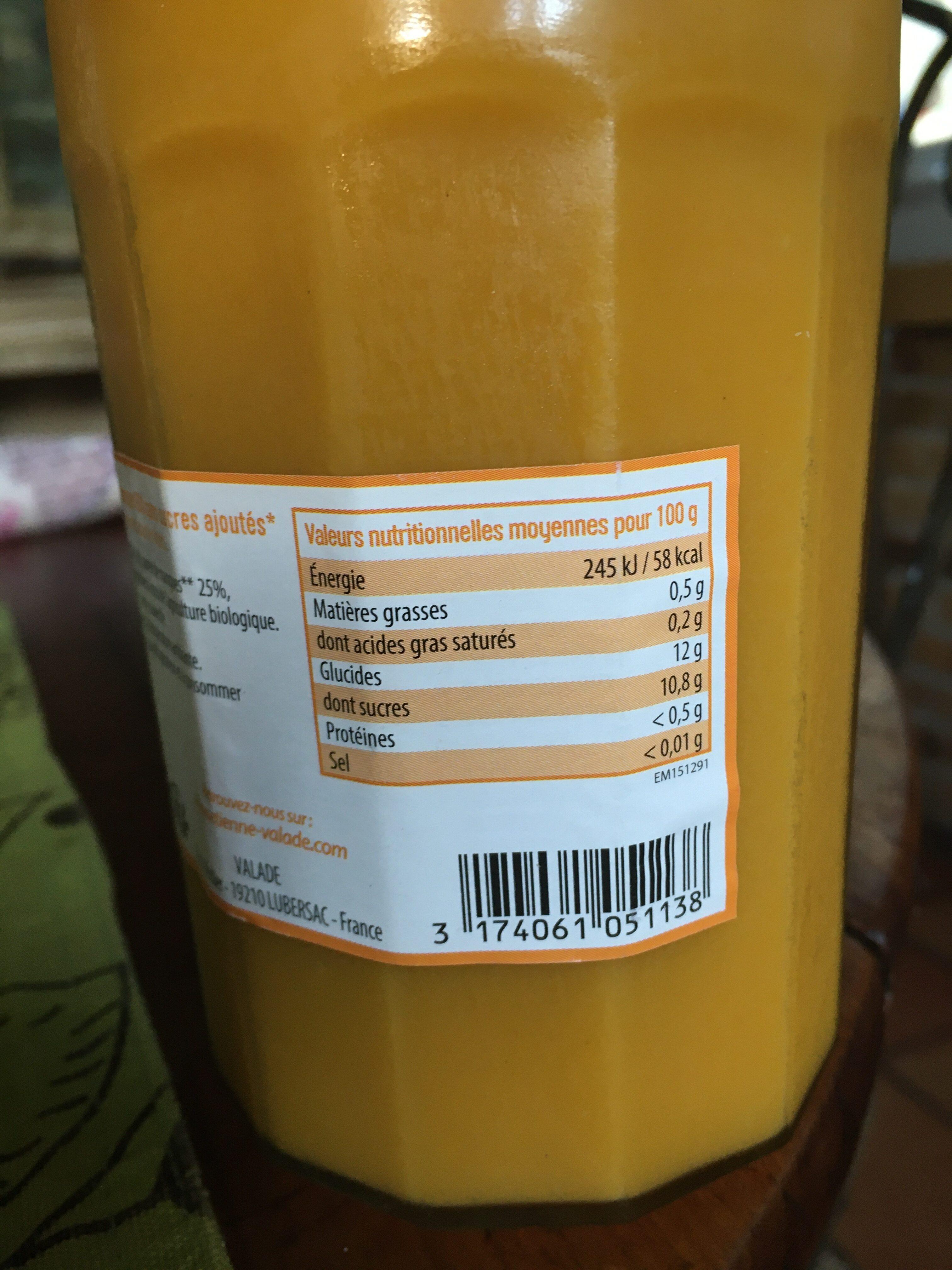 Compote Pomme Mangue SSA BIO - Informations nutritionnelles - fr