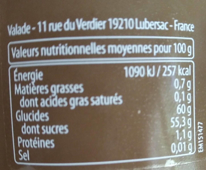 Crème de marrons Sud-Ouest - Voedingswaarden - fr