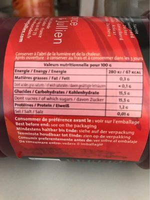 Purée De Framboise - Informations nutritionnelles - fr