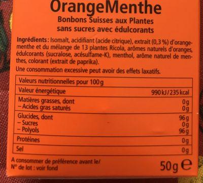 Bonbons orange/menthe ss RICOLA 50g offre economique 50ans - Ingrédients - fr