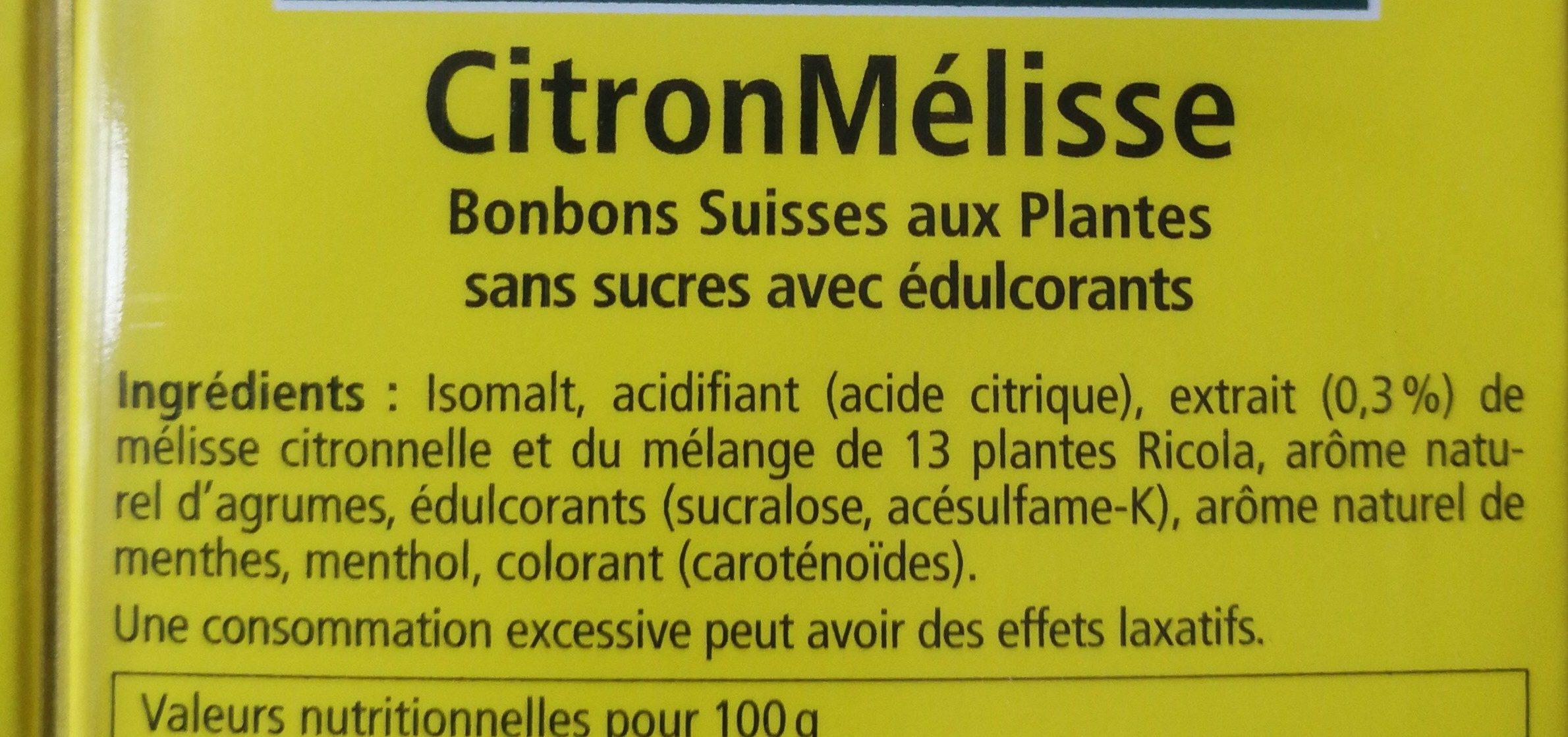 Citron mélisse - Ingrédients