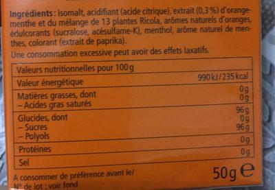 Bonbons ricola orange menthe - Informations nutritionnelles - fr