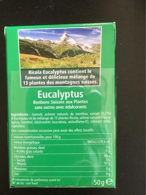 Ricola eucalyptus sans sucres 50g offre éco 50 ans - Nutrition facts - fr