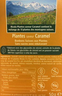 Bonbons plantes s/s caramel RICOLA 50g offre économique 50ans - Ingrédients - fr