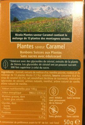 Bonbons plantes s/s caramel RICOLA 50g offre économique 50ans - Informations nutritionnelles - fr