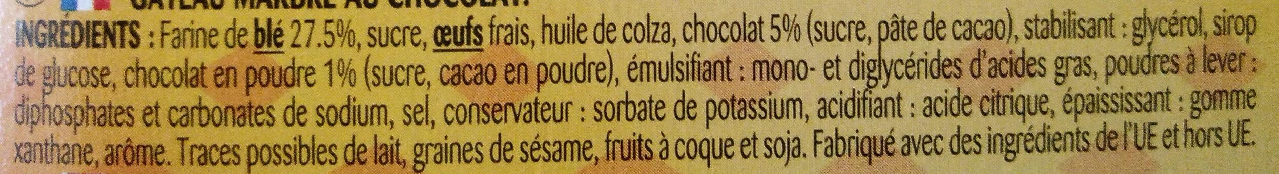 Le marbré au chocolat - Ingrédients - fr