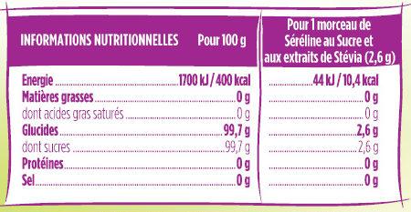 Séréline Sucre & aux extrait de Stévia - Valori nutrizionali - fr