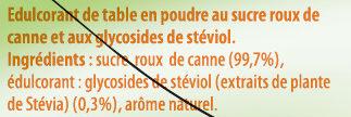 Ligne sucre roux et Stevia - Ingrédients - fr