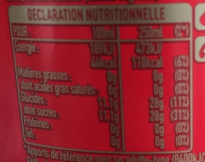 Coca Cola sans caféine - Valori nutrizionali - fr