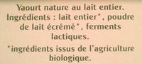 Yaourt Bio Nature - Ingrédients - fr