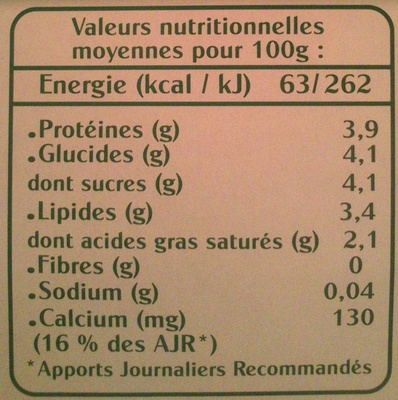 Yaourt Bio Nature - Informations nutritionnelles - fr