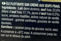 Véritable Ile flottante & sa vanille de Madagascar - Ingrédients - fr