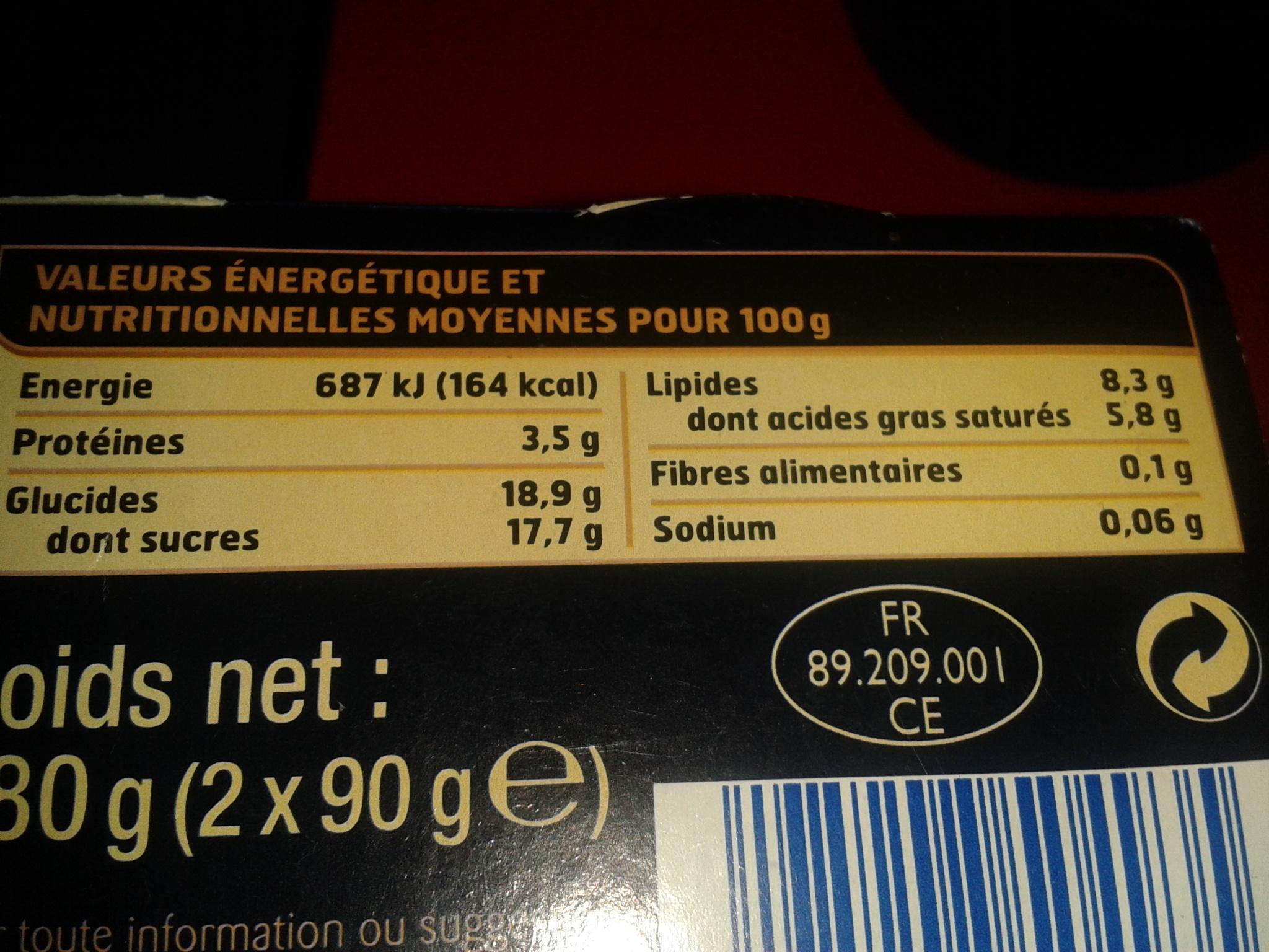 Les Créations Plaisir - Tout Chocolat - Voedingswaarden - fr