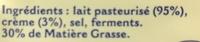 L'Authentique Bleu de Bresse (30 % MG) - Ingrédients - fr