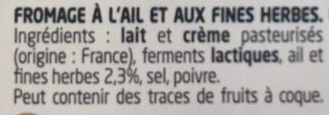 Ail & Fines Herbes - Ingrédients - fr