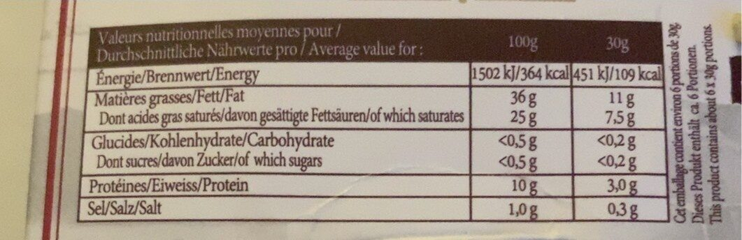 Boursault - Nutrition facts - fr