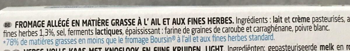 Boursin Light 9%, Bel Group (F) - Ingrediënten