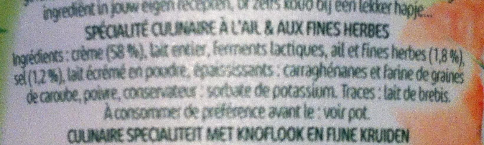 Cuisine Ail & Fines Herbes (20 % MG) - Ingredients - fr