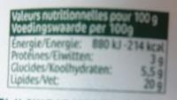 cuisine Echalotes & Ciboulette (20 % MG) - Nutrition facts