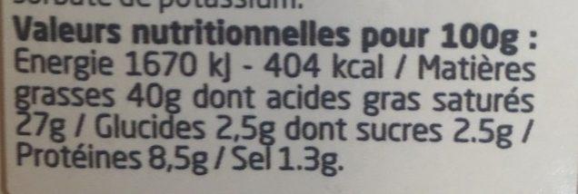 Fromage à l'échalote et à la ciboulette - Voedingswaarden - fr