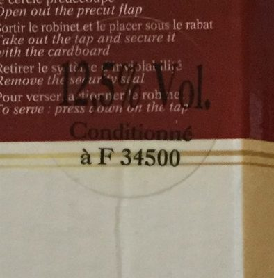 Cabernet sauvigon - Voedingswaarden - fr