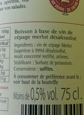 Grain d'envie Merlot sans alcool - Ingredients - fr