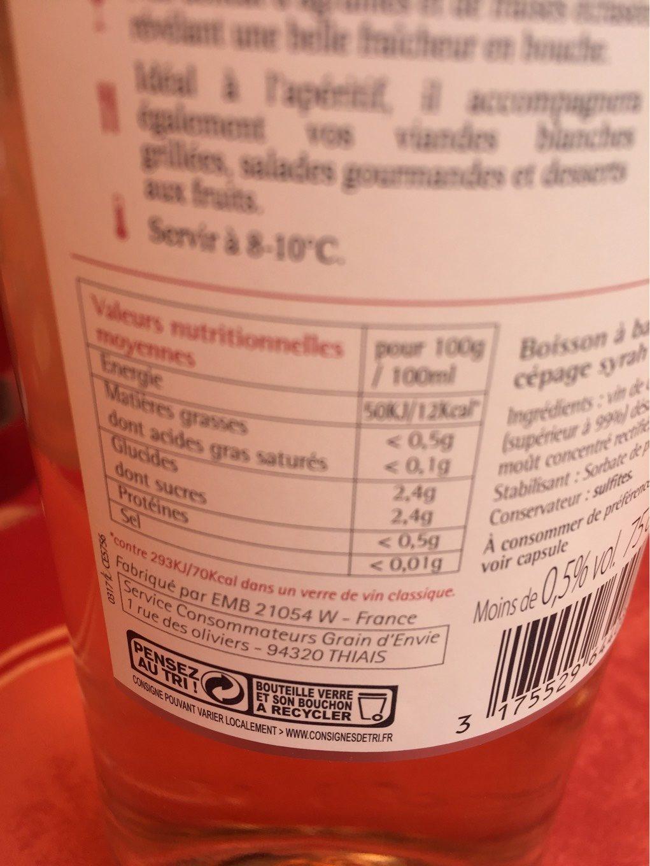 Grain d'envie - Nutrition facts - fr