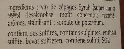 Grain d'envie SYRAH - Ingrédients - fr
