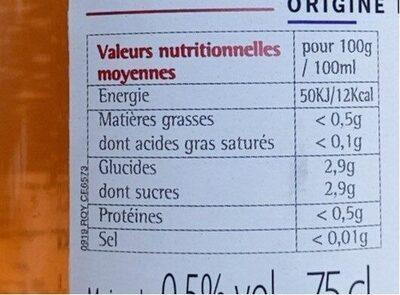 Grain d'envie SYRAH - Informations nutritionnelles - fr