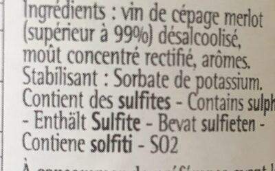 Merlot sans alcool - Ingredients