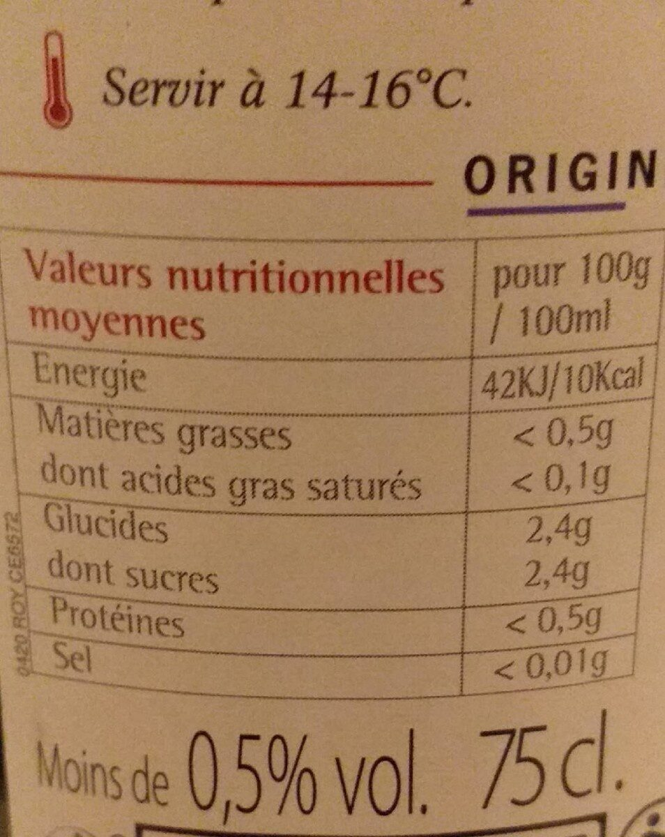 Merlot sans alcool - Nutrition facts - fr