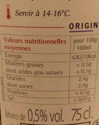 Merlot sans alcool - Nutrition facts