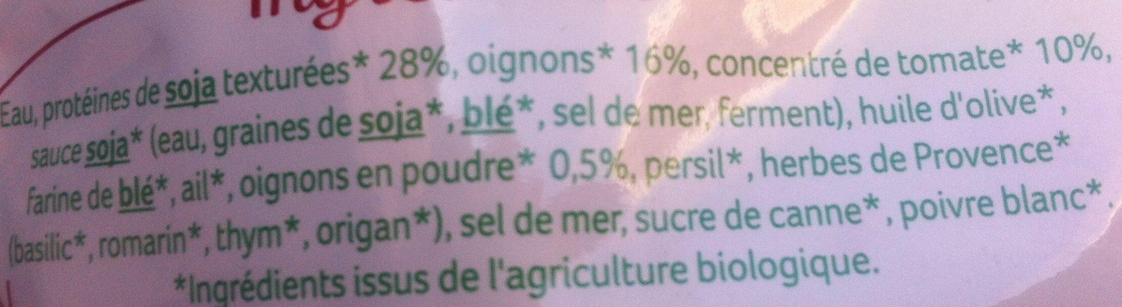 Haché végétal façon bolognaise au soja - Ingrédients - fr