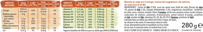 Biscuit soja orange - Voedingswaarden - fr