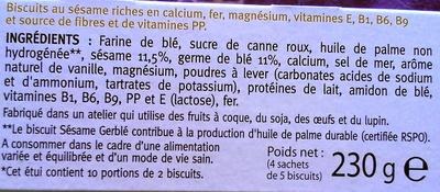 Biscuit Sésame - Ingrediënten