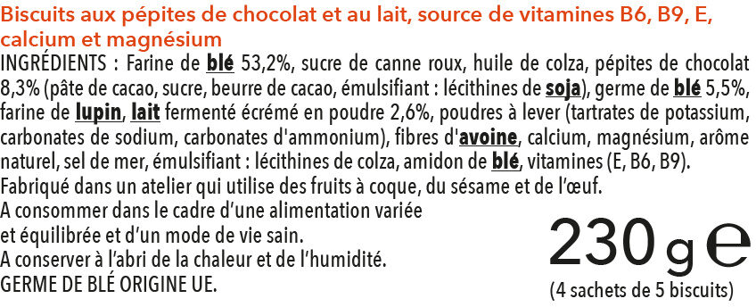 Biscuit lait chocolat - Ingredientes - fr