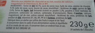Biscuit lait chocolat - Ingredients